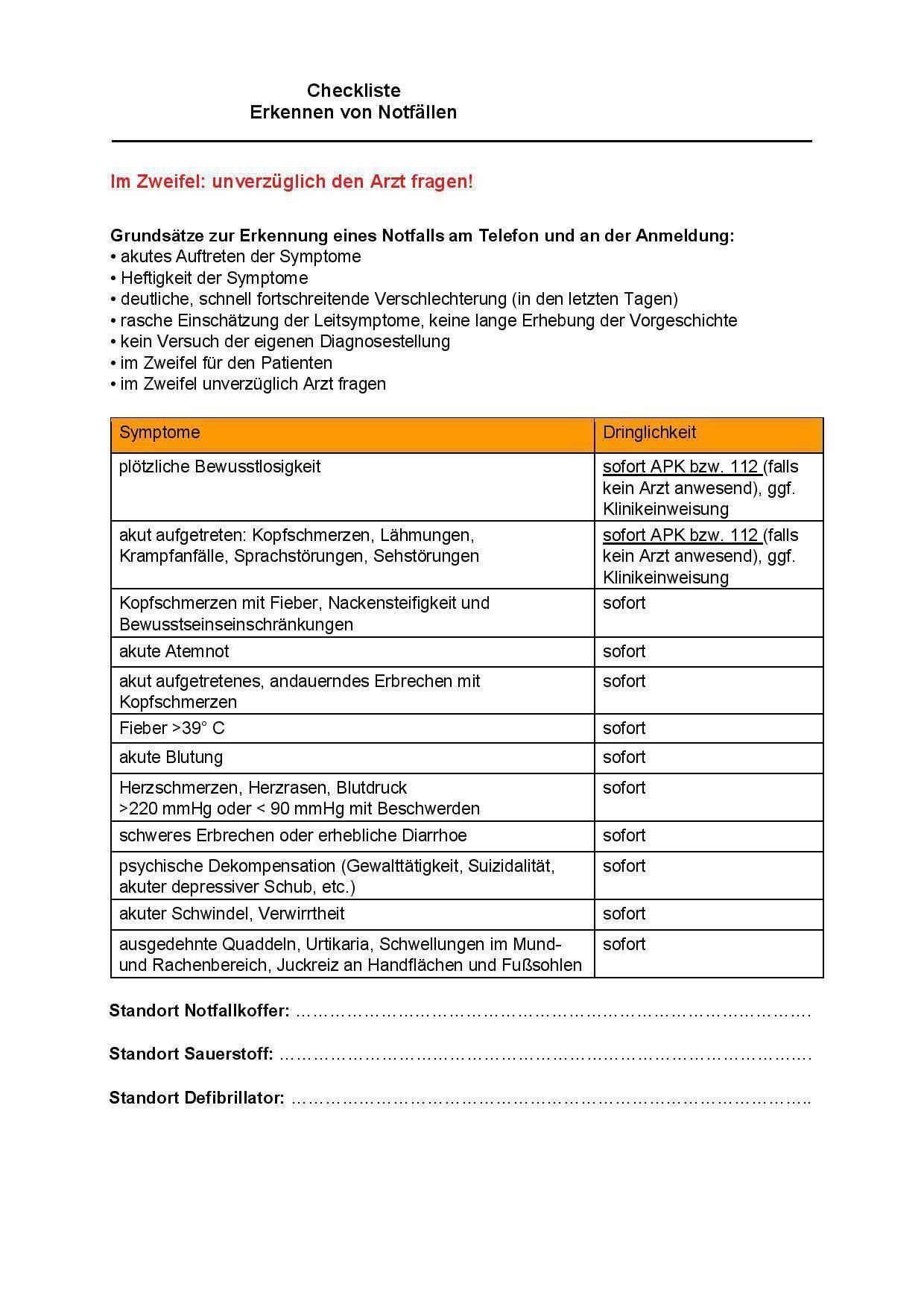 Checkliste Notfälle am Telefon und Anmeldung erkennen