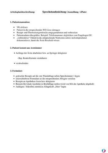Arbeitsplatzbeschreibung Sprechstundenleitung Qualitätsmanagement