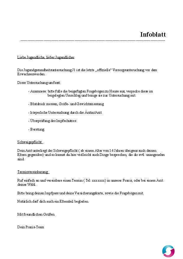 Infoblatt J1 für Jugendliche - Kostenlose Vorlagen Arztpraxis - Teramed