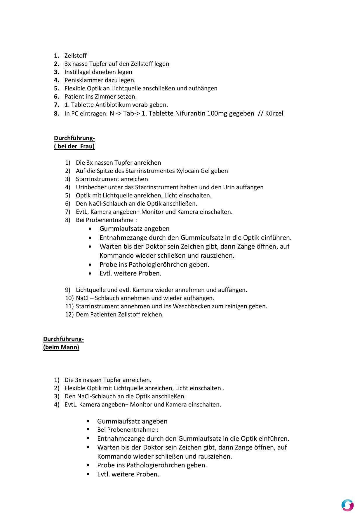 Arbeitsanweisung Assistenz Bei Der Cystoskopie Qualitätsmanagement
