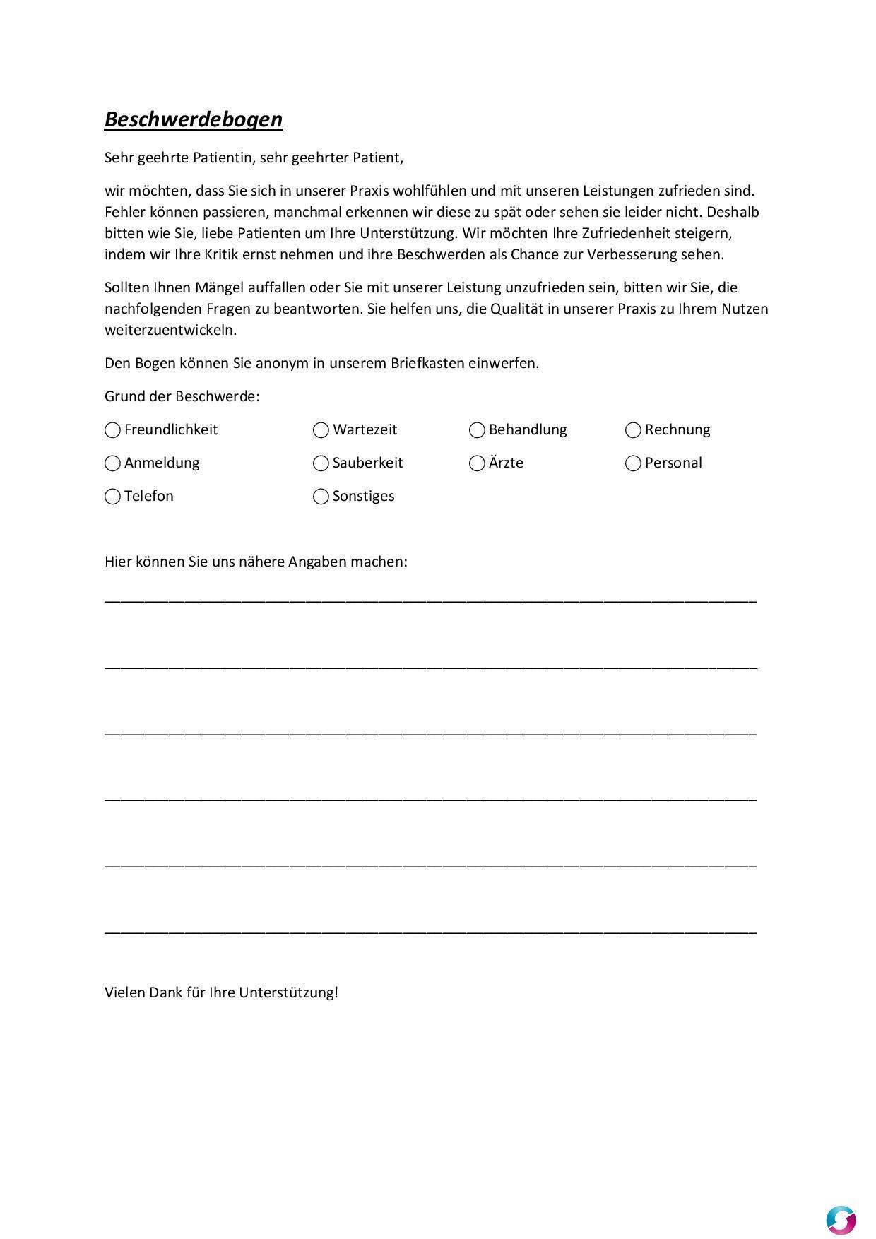 Beschwerdebogen Beschwerdemanagement Qualitätsmanagement In Der
