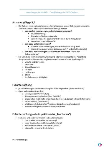 Screenshot for Checkliste MFA - DMP Diabetes mellitus