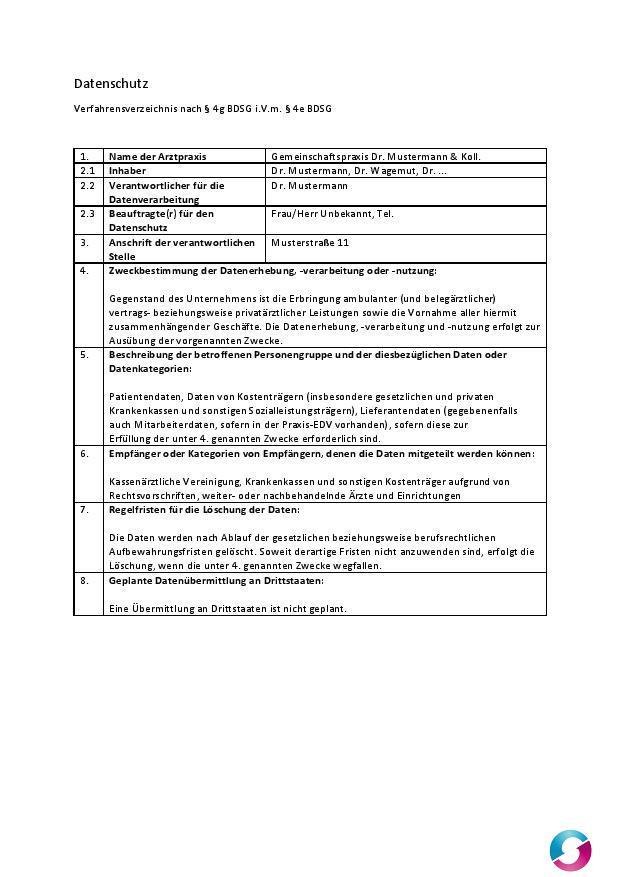Datenschutz Verfahrensverzeichnis Arztpraxis Qualitätsmanagement