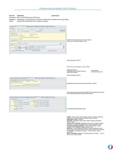 Screenshot for Leitfaden Dokumentation DMP Diabetes mellitus Medistar