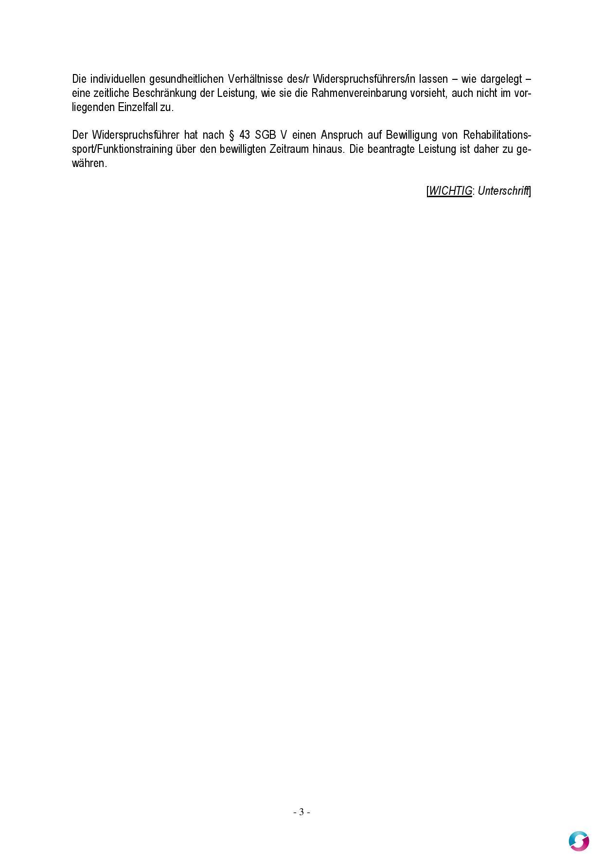 widerspruch funktionstraining sonstiges teramed - Widerspruch Krankenkasse Muster