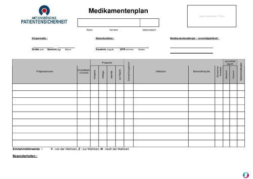 Medikamentenplan pdf word zum ausdrucken sonstiges for Tabelle muster word