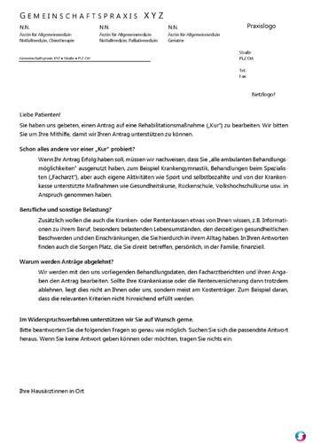vorbereitungs und fragebogen fr einen rehaantrag - Reha Antrag Abgelehnt Widerspruch Muster
