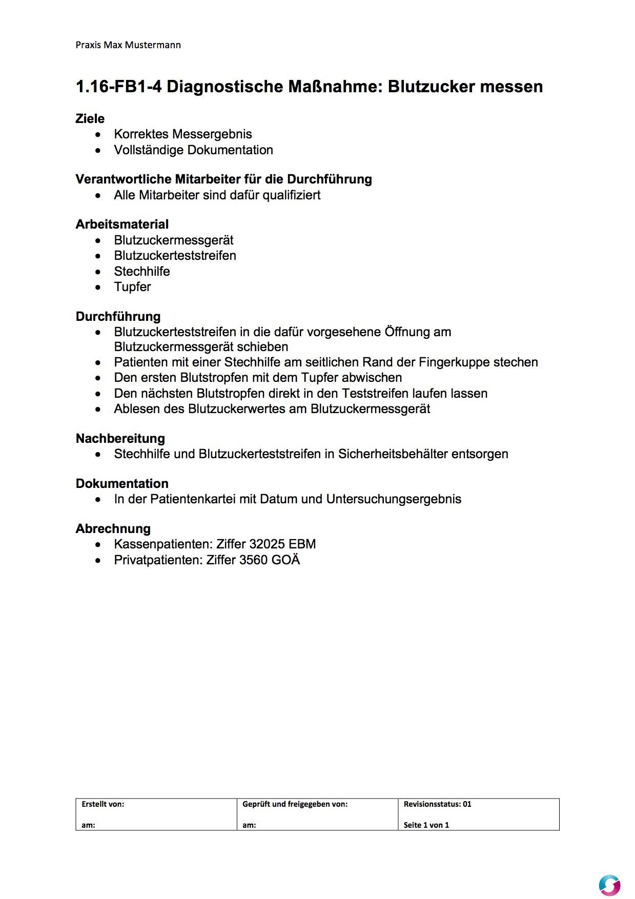Arbeitsanweisung Blutzuckermessung - Qualitätsmanagement in der ...