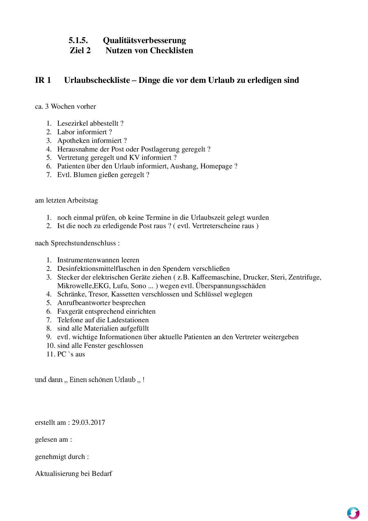 Checkliste für die Urlaubsvorbereitung - Qualitätsmanagement in der ...